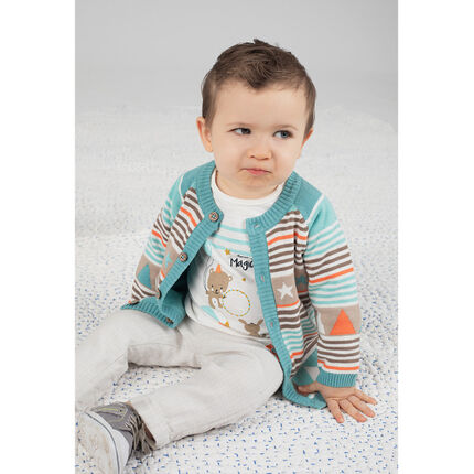 Gilet en tricot avec motifs jacquard et doublure jersey