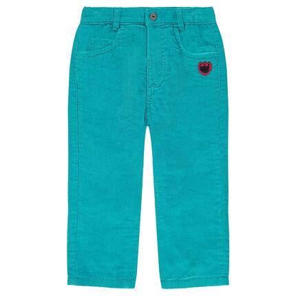Pantalon en velours côtelé avec patch empreinte