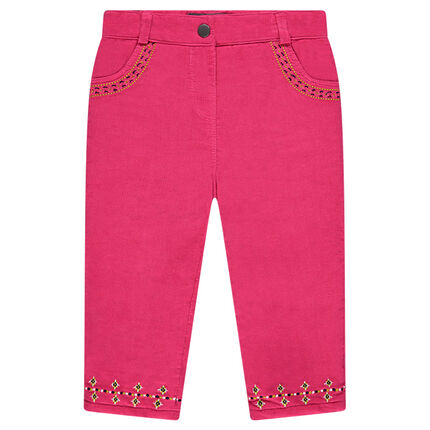 Pantalon en velours milleraies avec broderies
