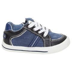 Baskets basses en toile effet jeans à lacets et zip