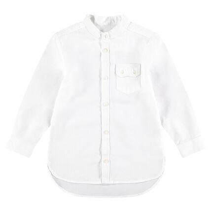 Chemise manches longues en coton fantaisie avec poche à raba