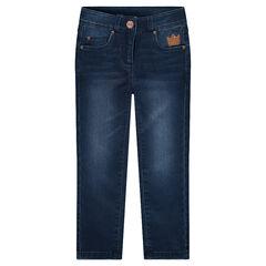 Jeans en molleton coupe slim avec couronne en sequins