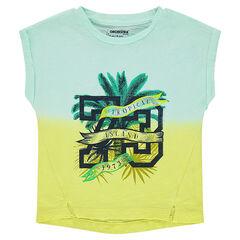 Tee-shirt manches courtes en jersey tie and dye avec print fantaisie