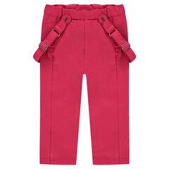 Pantalon uni en coton élasthanne avec bretelles amovibles