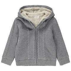 Gilet à capuche en tricot avec torsades et doublure en sherpa