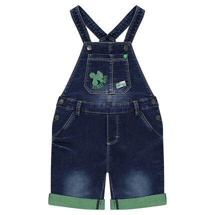 Salopette short en jeans effet used avec motif brodé
