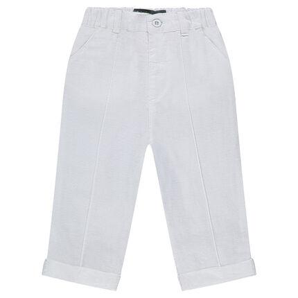 Pantalon en lin et coton uni coupe 7/8ème