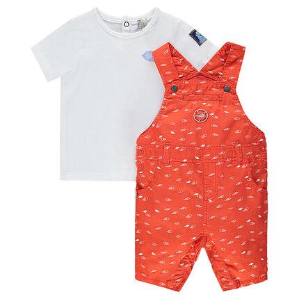 Tee-shirt manches courtes avec salopette short imprimée