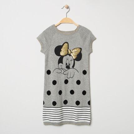 Robe manches courtes en tricot print Minnie Disney avec noeud doré