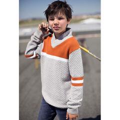 Junior - Pull en tricot fantaisie avec bandes contrastées