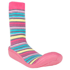 Chaussons chaussettes rayées multicolores