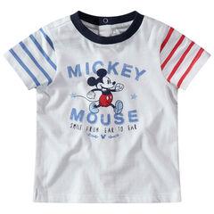 T-shirt manches courtes avec Mickey printé Disney et manches rayées