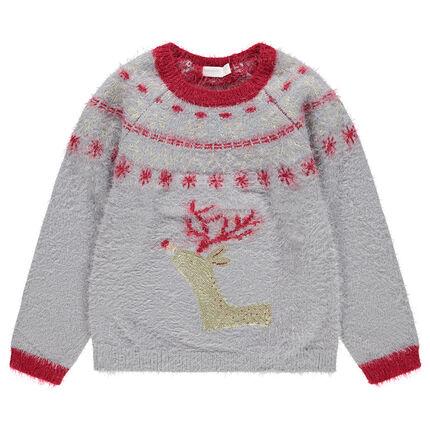 Pull de Noël en tricot poil avec élan en sequins dorés