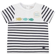 T-shirt manches courtes en coton bio à rayures et poissons