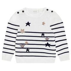 Pull en tricot style marinière avec étoiles en jacquard et paillettes