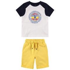 Ensemble avec t-shirt bicolore printé et bermuda uni jaune