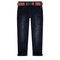 Jeans droit effet used avec ceinture amovible