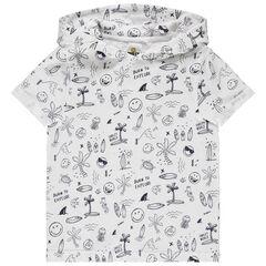 T-shirt manches courtes à capuche print Smiley