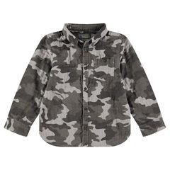 Chemise manches longues motif army avec poche