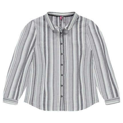 Junior - Chemise manches longues à rayures jacquard all-over