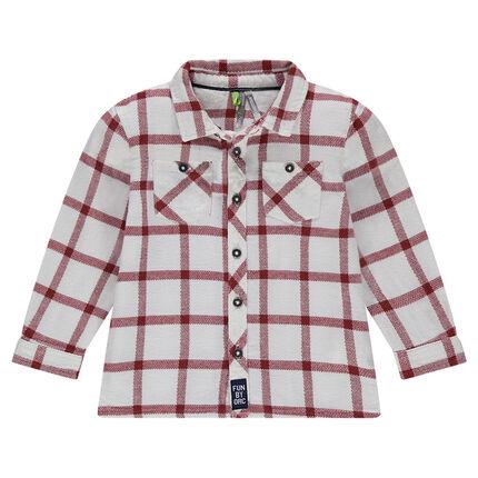 Chemise manches longues à larges carreaux contrastés
