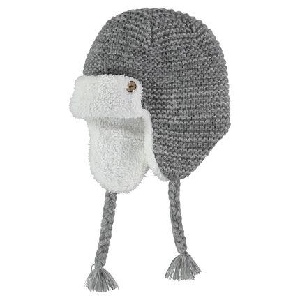 Bonnet péruvien en tricot avec doublure sherpa et tresses côtés