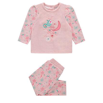 Pyjama en velours avec motif floral