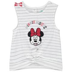Débardeur en coton bio à rayures argentées et Minnie brodée Disney