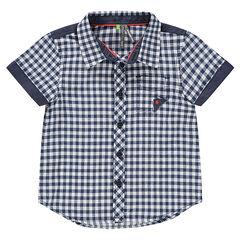Chemise manches courtes en vichy avec poche et détails en chambray