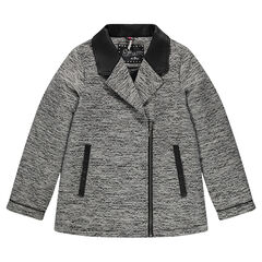 Junior - Manteau en jacquard et simili cuir
