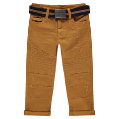 Pantalon en coton surteint effet crinkle avec ceinture amovible