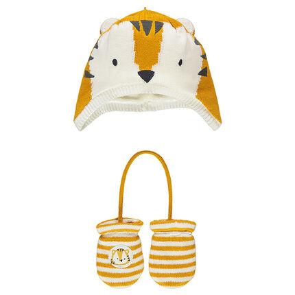 Ensemble bonnet en tricot doublé sherpa et moufles motif tigre
