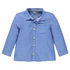 Chemise manches longues en coton avec poche