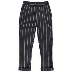 Junior - Pantalon chino à rayures et taille élastiquée