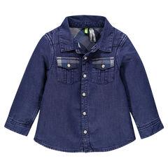 Chemise manches longues réversible bleu stone/carreaux contrastés