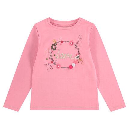 Tee-shirt manches longues en jersey avec print floral et pompons