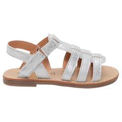 Nu-pieds argentés à brides