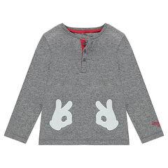Tee-shirt manches longues en jersey twisté avec gants de Mickey patchés ©Disney