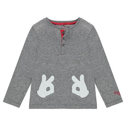 Tee-shirt manches longues en jersey twisté avec mains de Mickey patchées ©Disney