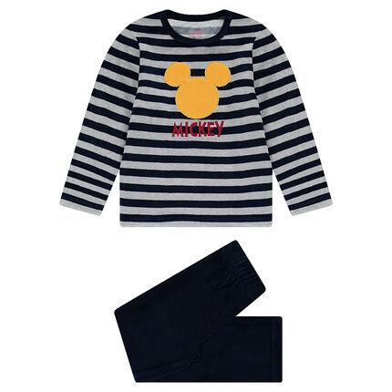 Pyjama en velours rayé Disney avec serti Mickey patché