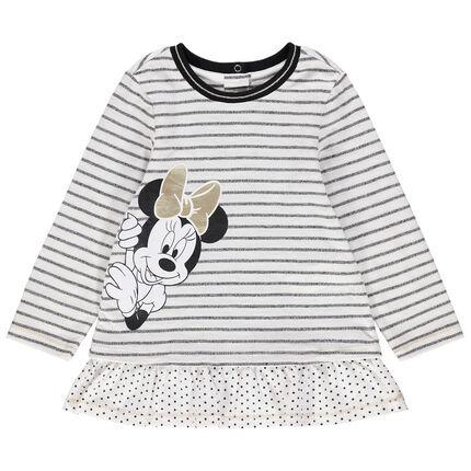 Tunique manches longues à rayures et print Minnie Disney
