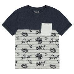 Junior - Tee-shirt manches courtes en jersey bicolore avec poche