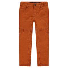 Pantalon coupe slim effet crinkle avec rabats