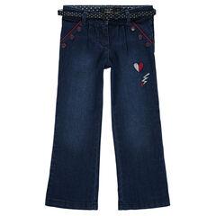 Jeans large avec badges brodés et ceinture amovible