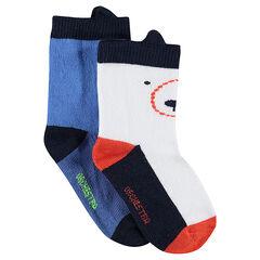 Lot de 2 paires de chaussettes assorties avec oreilles en relief