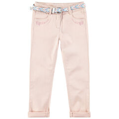 Pantalon slim avec ceinture tressée amovible