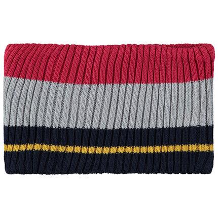 Snood en tricot avec bandes contrastées et doublure en sherpa