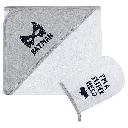 Set de bain avec cape et gant de toilette BATMAN
