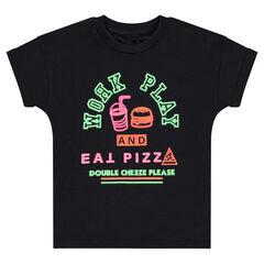 Tee-shirt manches courtes avec print néon fluo