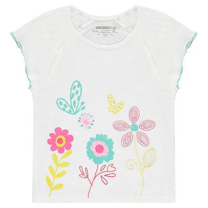 Tee-shirt manches courtes en jersey slub avec fleurs brodées et printées